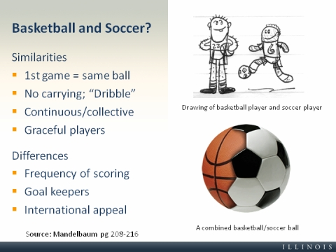 similarities between soccer and basketball essay Soccer and basketball each have different numbers of players and playing field size soccer has 11 players on a team if basketball players touch a basketball with other parts of body except hands, it is a foul the last obvious difference between the two sports is the global professional game.