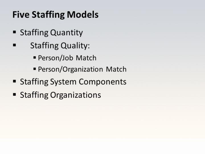Five Staffing Models