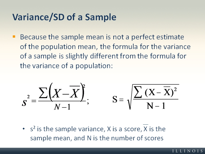 Variance/Sd Of A Sample